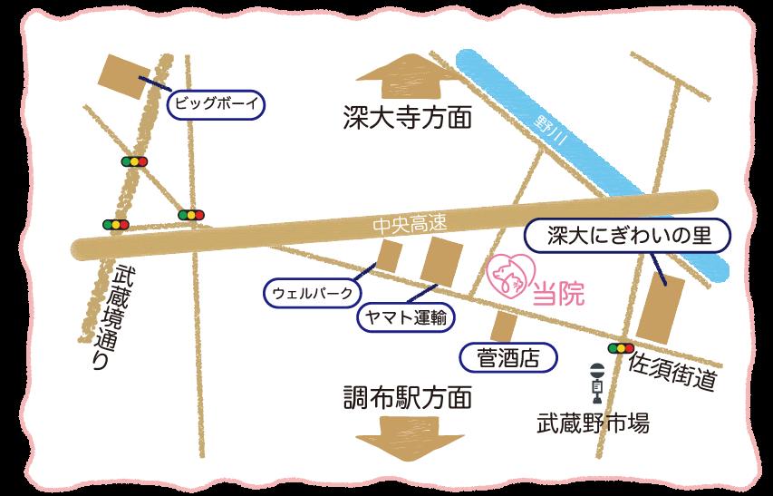 調布・三鷹の動物病院 ほほえみ動物病院は佐須街道沿いにあります。