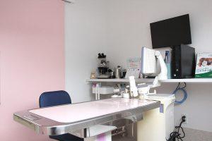 調布・三鷹のホームドクター、ほほえみ動物病院の診察室。
